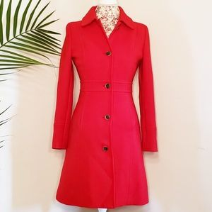 J. Crew Bright Red Double-Cloth Lady Day Coat Sz 2